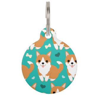 Kawaii Cute Corgi dog simple illustration pattern Pet Name Tag
