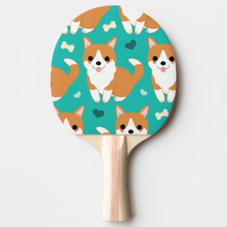 Kawaii Cute Corgi dog simple illustration pattern Ping Pong Paddle