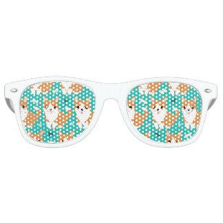 Kawaii Cute Corgi dog simple illustration pattern Retro Sunglasses