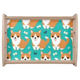 Kawaii Cute Corgi dog simple illustration pattern Serving Tray