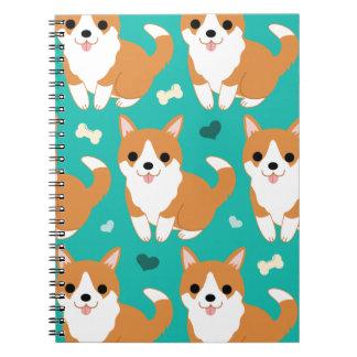 Kawaii Cute Corgi dog simple illustration pattern Spiral Notebook