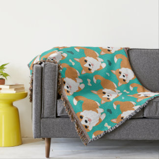 Kawaii Cute Corgi dog simple illustration pattern Throw Blanket