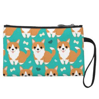 Kawaii Cute Corgi dog simple illustration pattern Wristlet