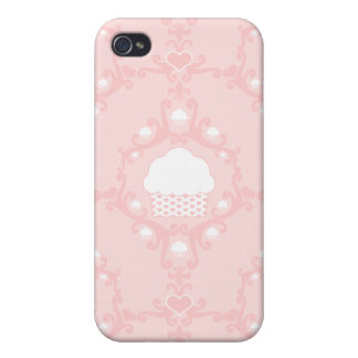 Kawaii cute damask wallpaper pink cupcake cupcakes cases for iPhone 4
