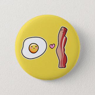 Kawaii Cute egg loves bacon button