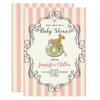 Kawaii Cute Frame. Baby Shower Invitation. Card