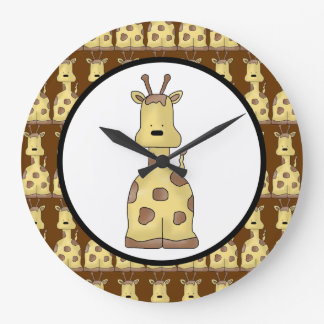 Kawaii Cute Friendly Cartoon Baby Giraffe Wild Art Large Clock