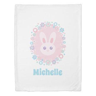 Kawaii Cute Girly Pink Bunny Rabbit Pastel Flowers Duvet Cover