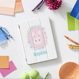 Kawaii Cute Girly Pink Bunny Rabbit Pastel Flowers iPad Pro Cover