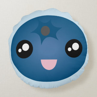 Kawaii Cute Happy Smiley Face Blue Berry Emoji Round Pillow