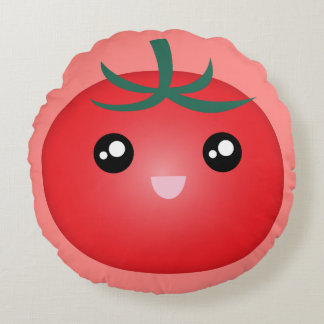 Kawaii Cute Happy Smiley Face Tomato Emoji Cartoon Round Pillow