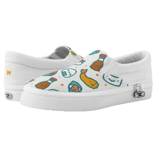 Kawaii Cute Japanese Sushi Pattern. Monogram. Slip-On Sneakers