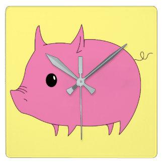 Kawaii Cute Little Pink Piggy Wallclock