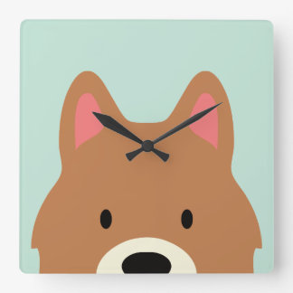 Kawaii Cute Little Puppy Dog. Square Wall Clock