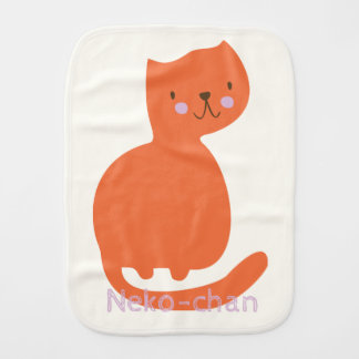 Kawaii Cute Orange Cat. Add Baby's Name. Burp Cloth