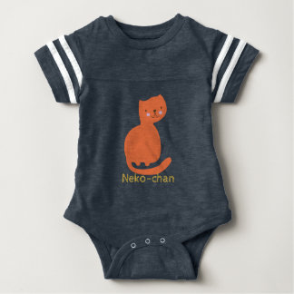 Kawaii Cute Orange Kitty Cat. Add Baby's Name. Baby Bodysuit