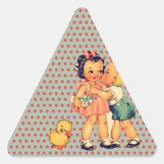 Kawaii cute retro polka dots vintage kids triangle sticker