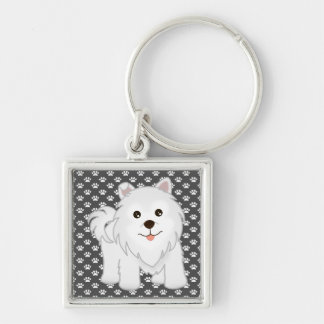 Kawaii Cute Samoyed Puppy Dog Cartoon Animal Keychain