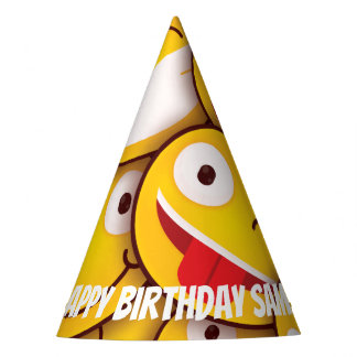 Kawaii Cute Smiley Emoji Emoticon Birthday. Party Hat