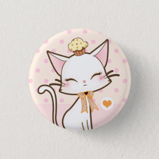 Kawaii cute white cat with cupcake 1 inch round button