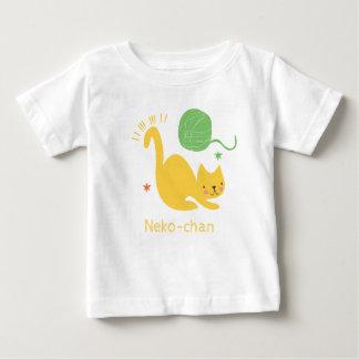Kawaii Cute Yellow Kitty Cat. Add Baby's Name. Baby T-Shirt