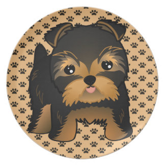 Kawaii Cute Yorkshire Terrier Puppy Dog Plate