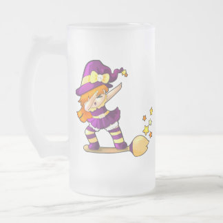Kawaii Dabbing Witch Frosted Glass Beer Mug