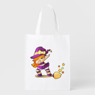 Kawaii Dabbing Witch Reusable Grocery Bag