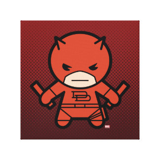 Kawaii Daredevil With Paired Short Sticks Canvas Print