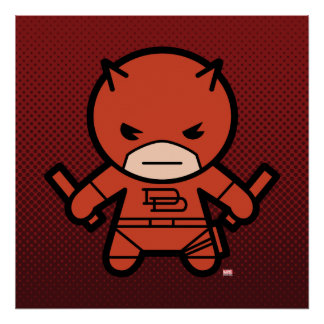 Kawaii Daredevil With Paired Short Sticks Poster
