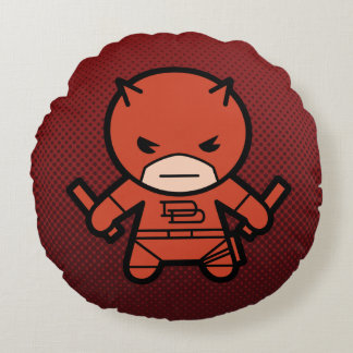 Kawaii Daredevil With Paired Short Sticks Round Pillow