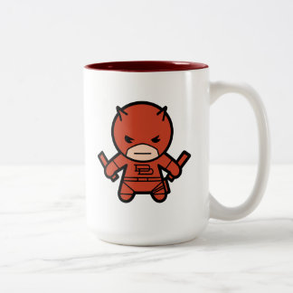 Kawaii Daredevil With Paired Short Sticks Two-Tone Coffee Mug