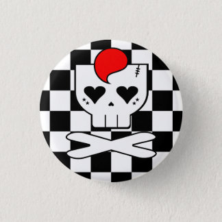 KAWAII DEATHROCK SKULL CHECKERBOARD PIN BUTTON