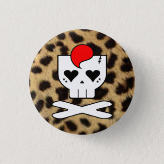 KAWAII DEATHROCK SKULL CHEETAH PRINT PIN BUTTON