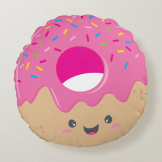 KAWAII DONUT DELIGHT bold colorful sweet sprinkles Round Pillow