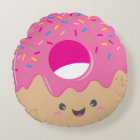 KAWAII DONUT DELIGHT bold colourful sweet Round Pillow