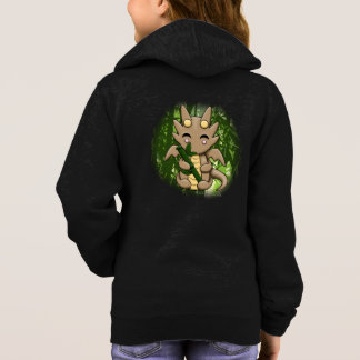 Kawaii Dragon Bamboo Girl's Zip Up Hoodie