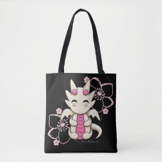 Kawaii Dragon Pink Flowers Tote Bag