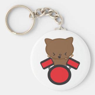 Kawaii Drummer Cat Keychain