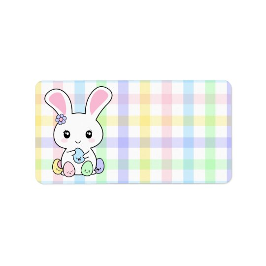 Kawaii Easter Bunny Label