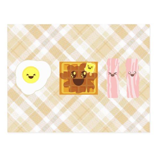 kawaii eggs waffle bacon breakfast postcard