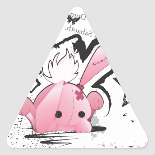 Kawaii emo Pink Bunny Triangle Sticker