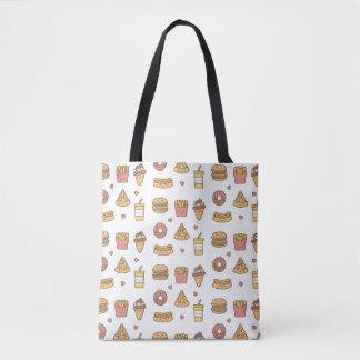 Kawaii Fast Food Doodles Tote Bag