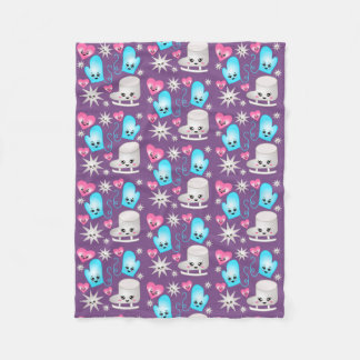 Kawaii Figure Skate Pattern Blacket Purple Fleece Blanket