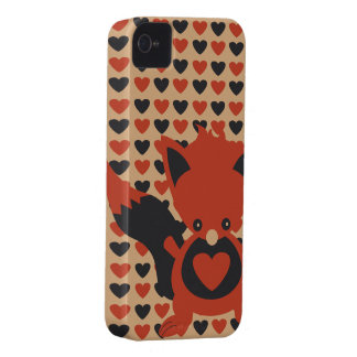 Kawaii Foxy Hearts iPhone 4 Case-Mate Barely There