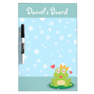 Kawaii frog with sparkling eyes on a lily pad dry erase board