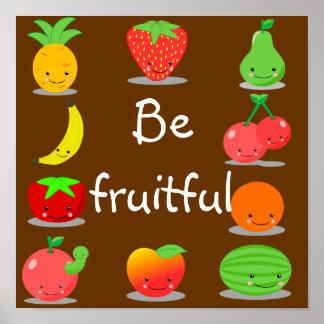 Kawaii Fruit Poster