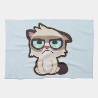 Kawaii, fun and funny grimmy cat kitchen towel