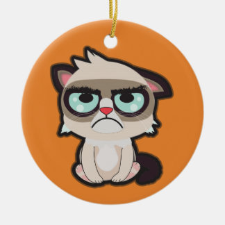 Kawaii, fun and funny grimmy cat round ornamnet ceramic ornament