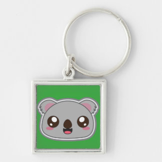 Kawaii, fun and funny koala green keychain
